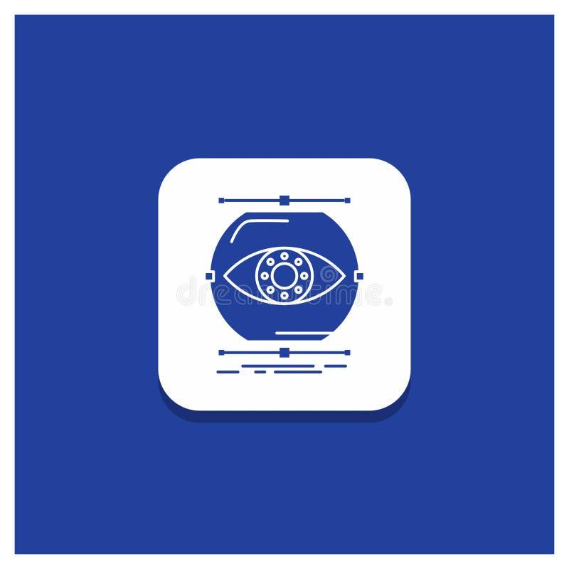 De blauwe Ronde Knoop voor visualiseert, conceptie, controle, controle, het pictogram van visieglyph royalty-vrije illustratie