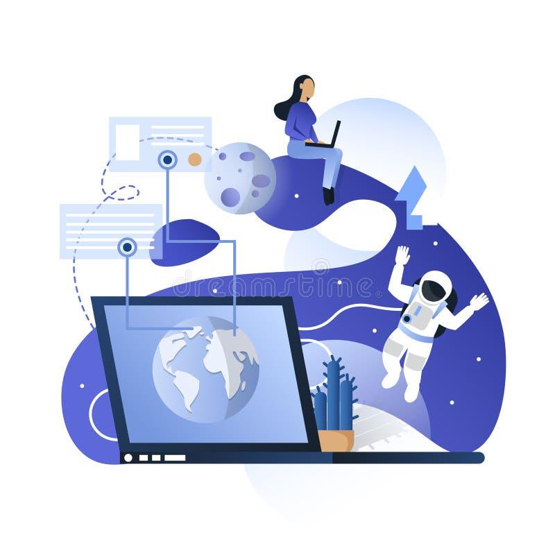 De blauwe ruimteillustratie van het communicatietechnologieën vectorconcept royalty-vrije illustratie