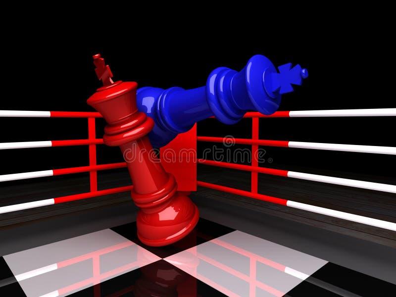 De blauwe schaakkoning is checkmated, het 3D teruggeven vector illustratie