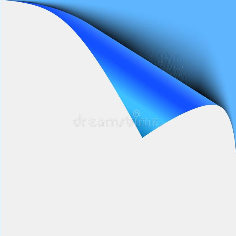 De blauwe schil van de paginahoek Leeg blad van gevouwen kleverige document nota De vectorschil van de illustratiesticker voor ad royalty-vrije illustratie