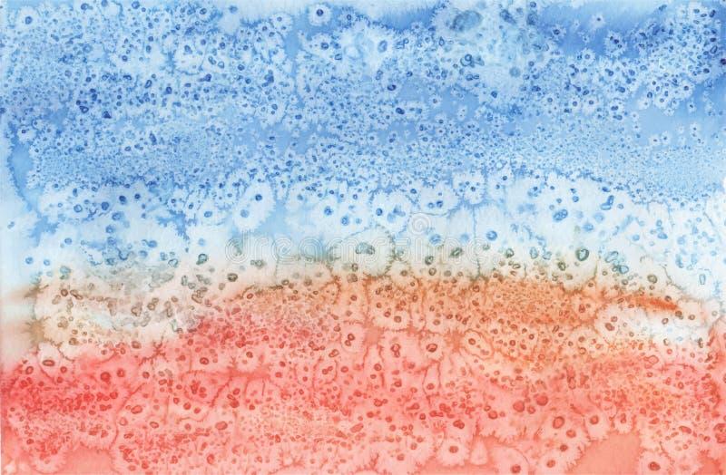 De blauwe sinaasappel watercolored vectorachtergrond stock illustratie