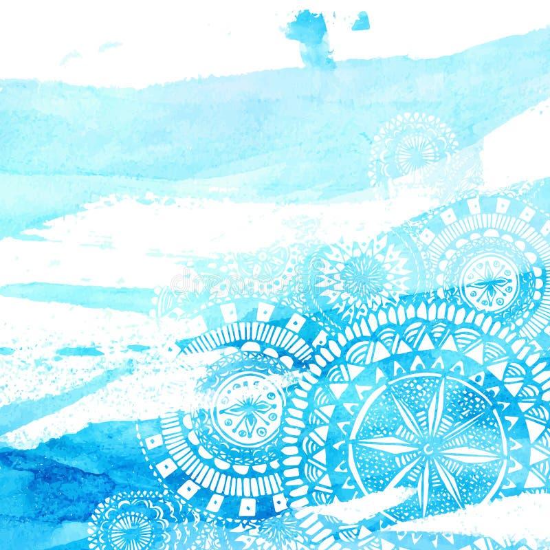 De blauwe slagen van de waterverfborstel met witte hand royalty-vrije illustratie