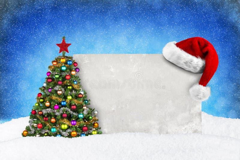 De blauwe sneeuw van de KERSTMISkaart stock foto