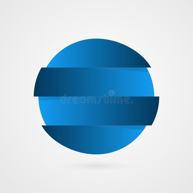 De blauwe steekproef van de gradiëntcirkel Vier strepen vector infographic element Bedrijfsembleem geïsoleerde illustratie stock illustratie