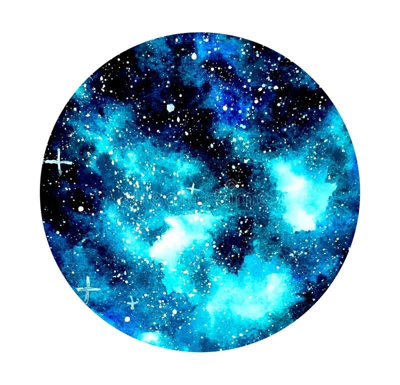 de blauwe sterrige achtergrond van de nachtwaterverf stock illustratie