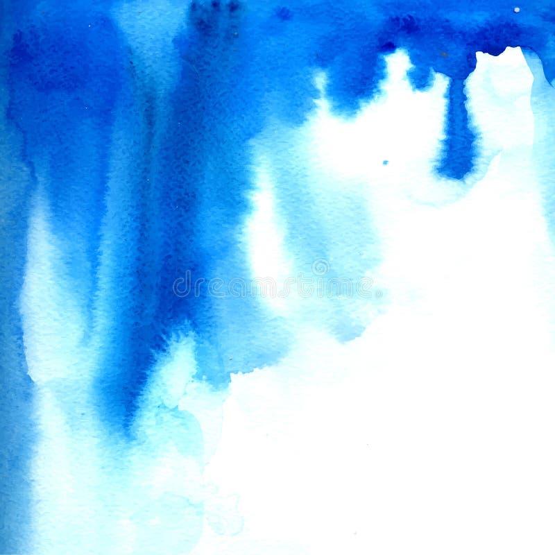 De blauwe stroom van de waterverfverf Vector textuur royalty-vrije illustratie