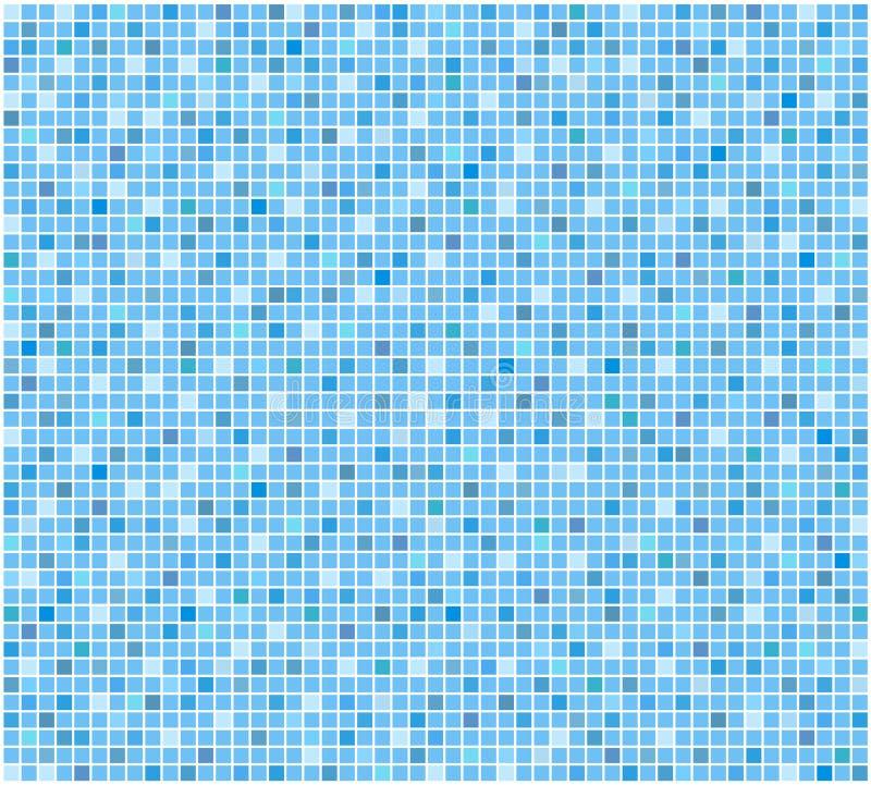 De blauwe tegelbadkamers of achtergrond van het poolmozaïek, voorraad vectorillus stock illustratie