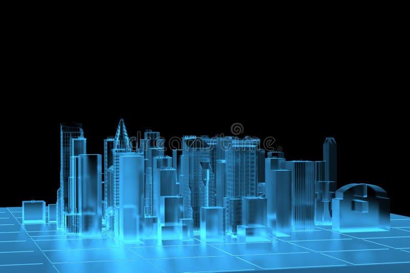 De Blauwe teruggegeven röntgenstraal van de stad stock illustratie