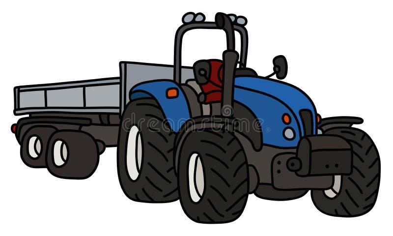 De blauwe tractor met een aanhangwagen stock illustratie