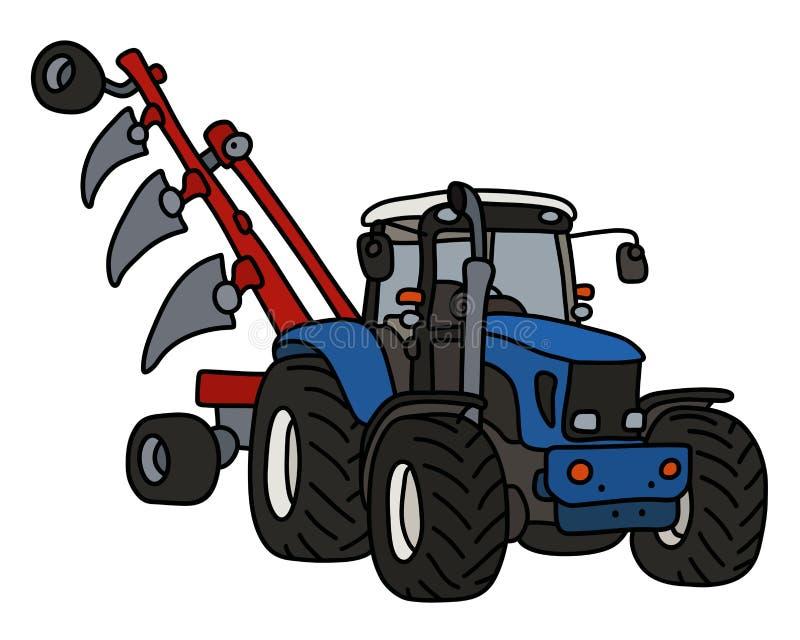 De blauwe tractor met een ploeg royalty-vrije illustratie