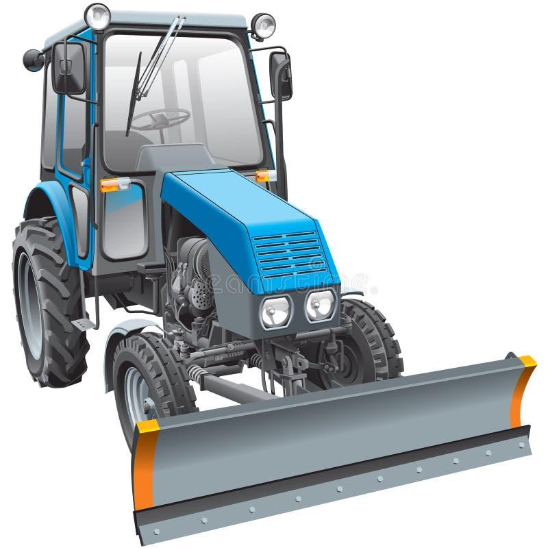 De blauwe tractor van de sneeuwvechter vector illustratie