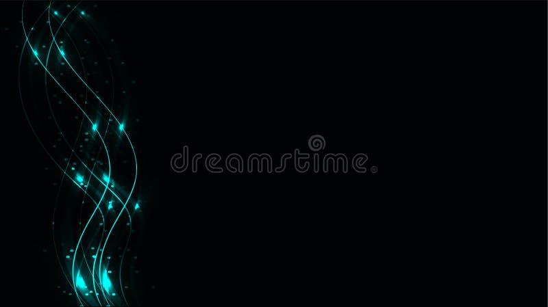 De blauwe transparante abstracte glanzende magische kosmische magische energielijnen, de stralen met glans en de punten en het li vector illustratie
