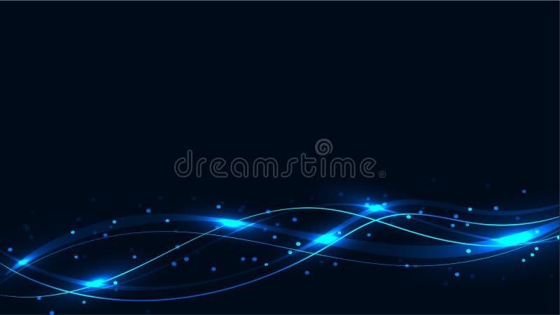 De blauwe transparante abstracte glanzende magische kosmische magische energielijnen, de stralen met hoogtepunten en de punten en stock illustratie