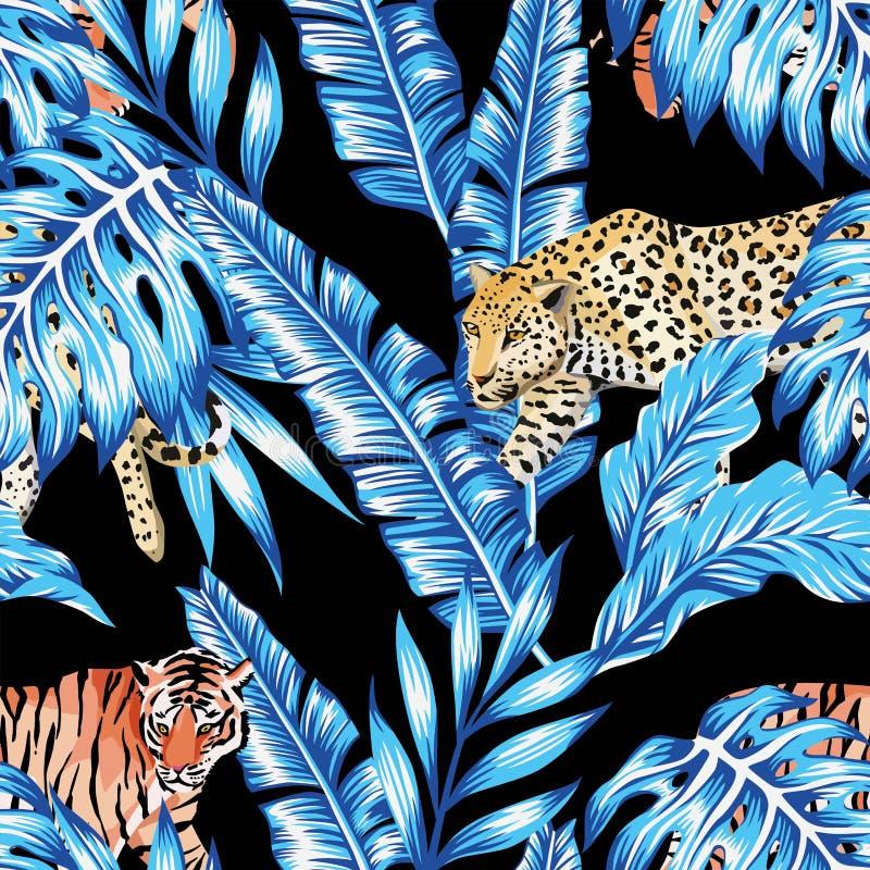 De blauwe van de de tijgerluipaard van banaanbladeren naadloze zwarte achtergrond vector illustratie