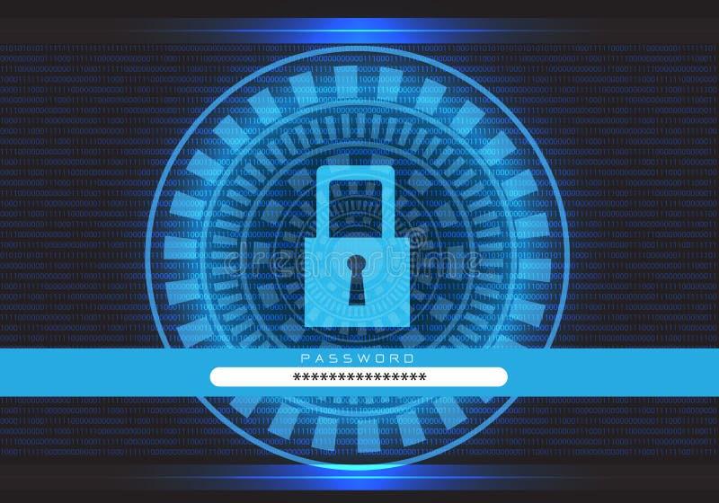 De blauwe van het de computerslot van technologiegegevens het schermveiligheid met gaat wachtwoord op zwarte ontwerp moderne futu vector illustratie