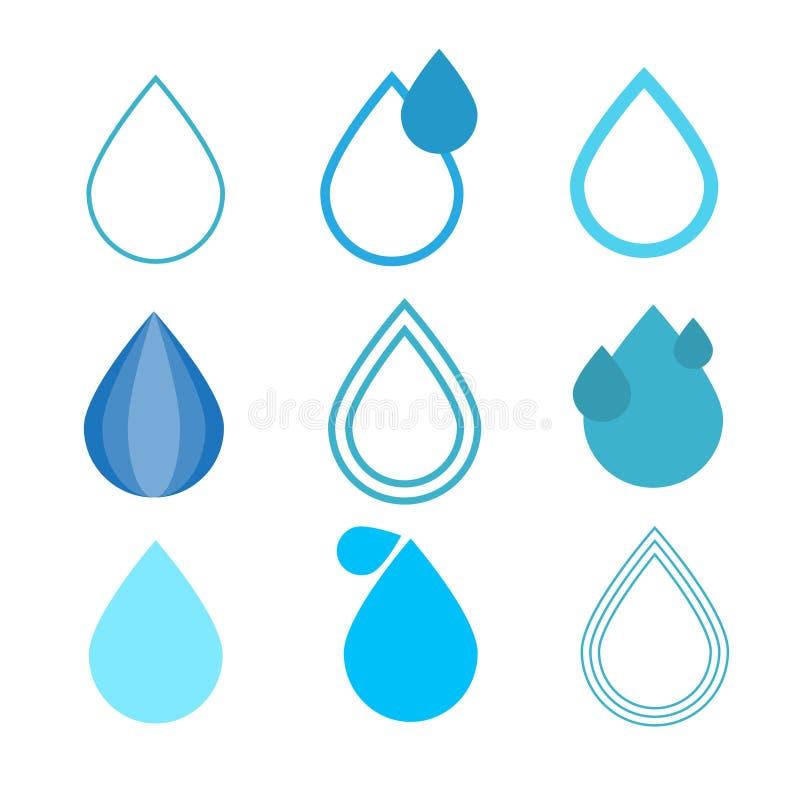 De blauwe Vector Geplaatste Symbolen van Waterdalingen vector illustratie