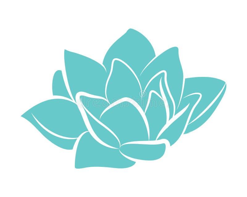 De blauwe vector van de de bloemlelie van het lotusbloemwater stock illustratie