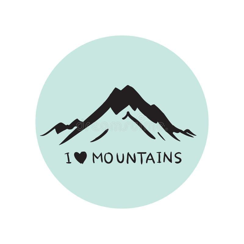 De blauwe vector van de bergenillustratie stock illustratie