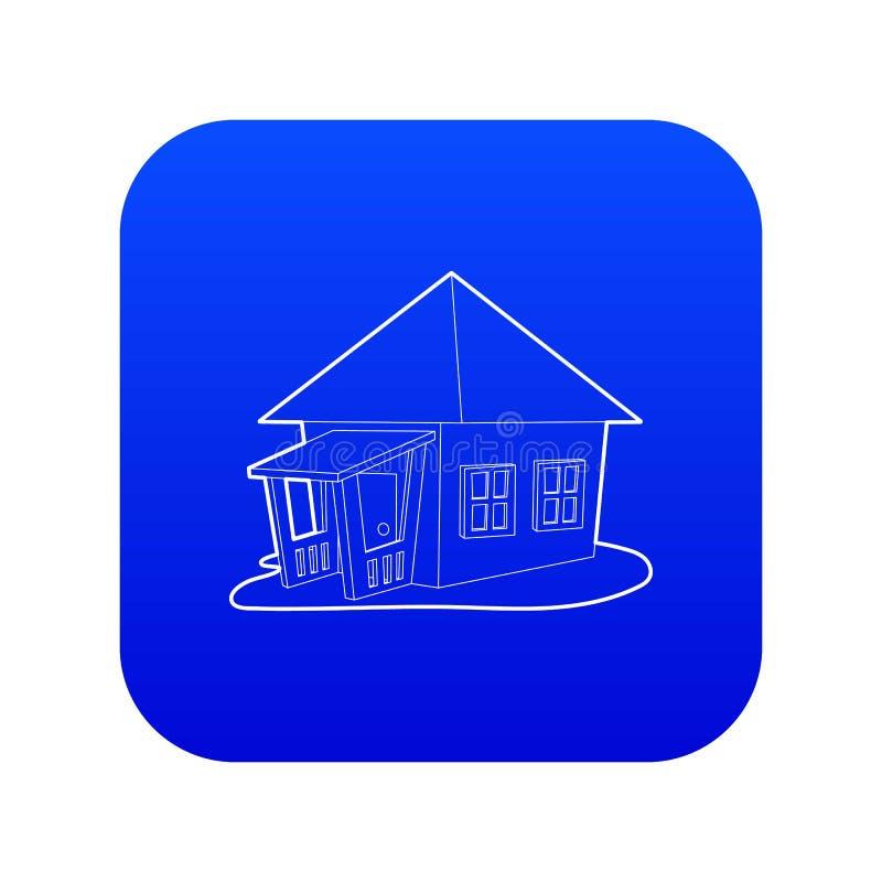 De blauwe vector van het bungalowpictogram royalty-vrije illustratie