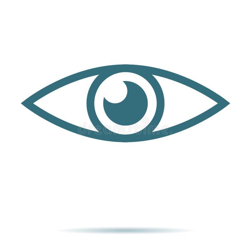De blauwe vector van het oogpictogram Vlak die visiesymbool op witte achtergrond wordt geïsoleerd In Internet-concept wijze stock illustratie