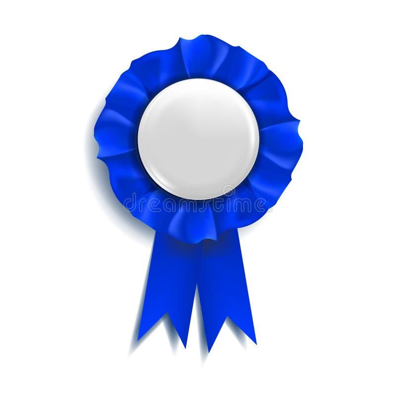 De blauwe Vector van het Toekenningslint Beste Trofee Luxeproduct Objecten Malplaatje 3d realistische illustratie royalty-vrije illustratie