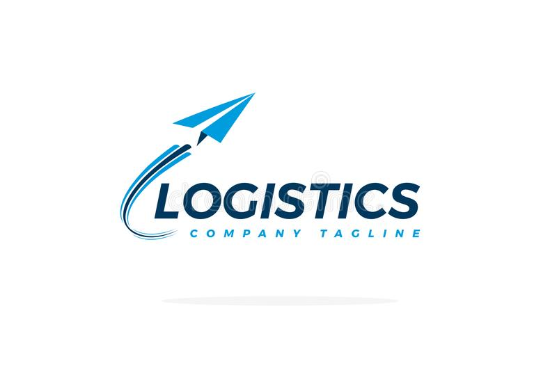 De blauwe Vector van Logistieklogo with airplane taking off stock foto's