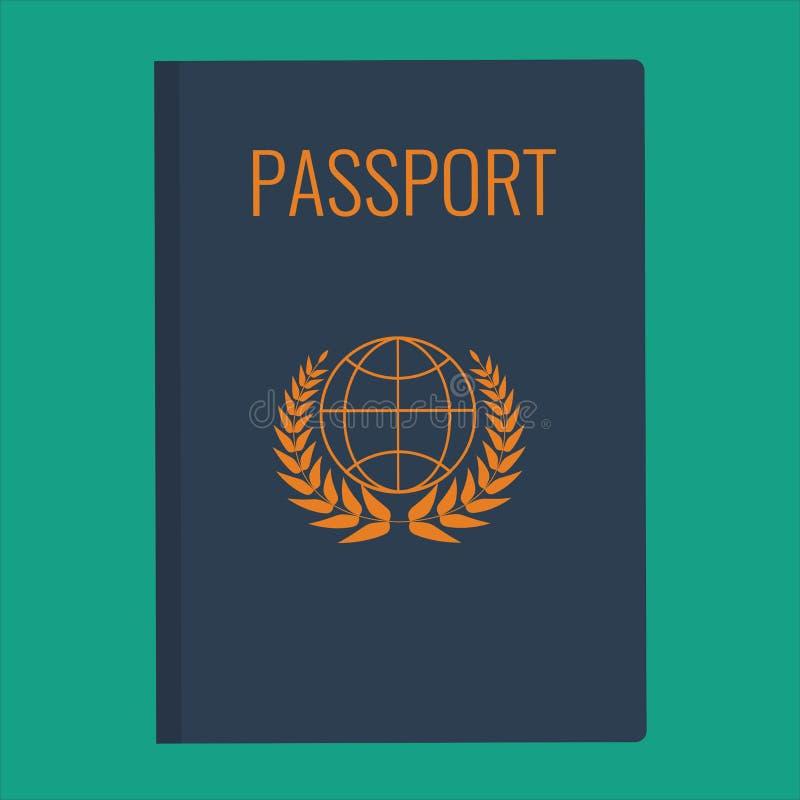 De blauwe vectorillustratie van de Paspoortdekking Het vlakke ontwerp van de paspoortdekking stock illustratie
