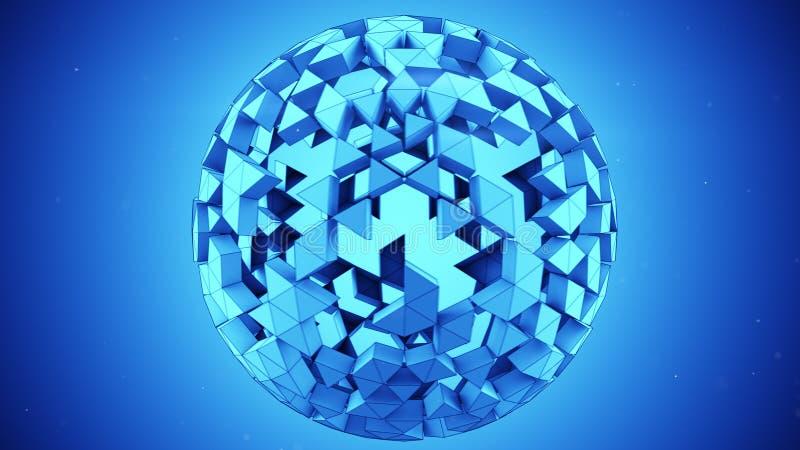 De blauwe veelhoekige 3D gebiedsamenvatting geeft terug vector illustratie