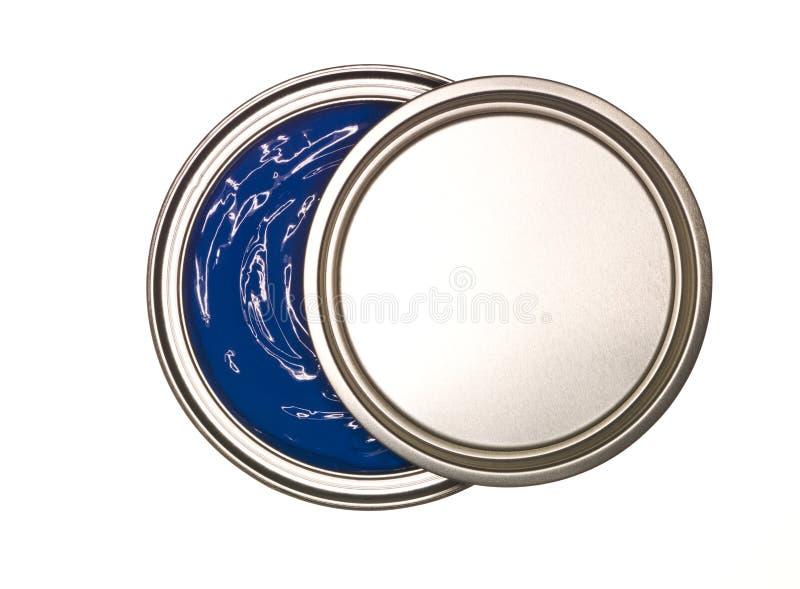 De blauwe Verf kan royalty-vrije stock afbeelding