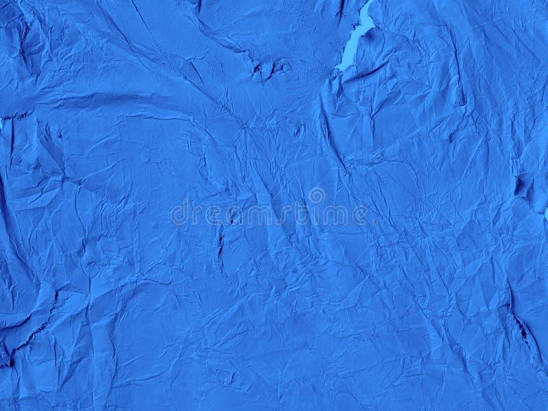 De blauwe verfrommelde document achtergrond royalty-vrije stock foto's