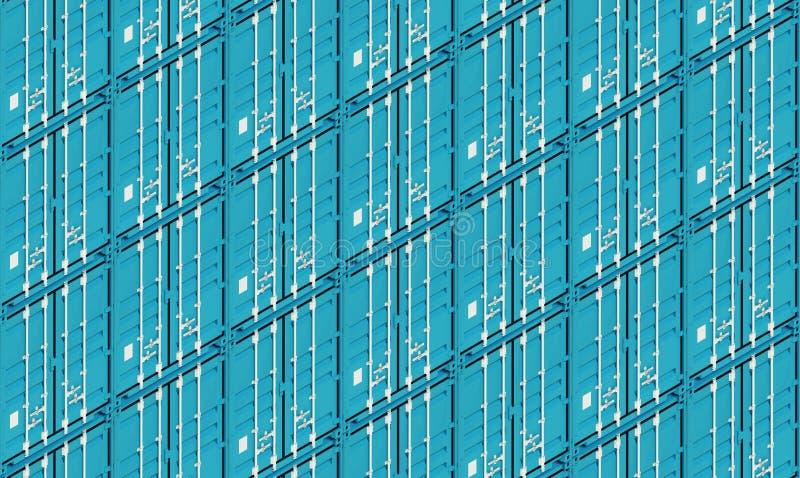 De blauwe verschepende containers van de metaalvracht, 3d illustratie stock illustratie