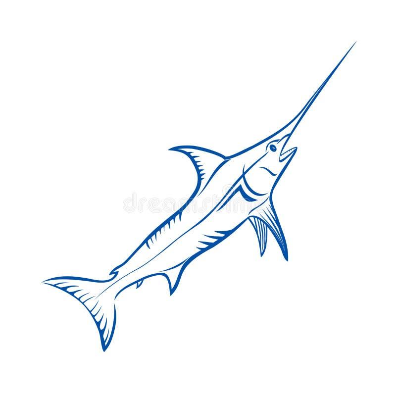 De blauwe vissen van de Marlijn vector illustratie