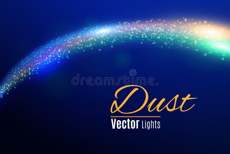 De blauwe vonken en de sterren schitteren speciaal lichteffect Het fonkelen magische stofdeeltjes Licht gloed speciaal effect met stock illustratie