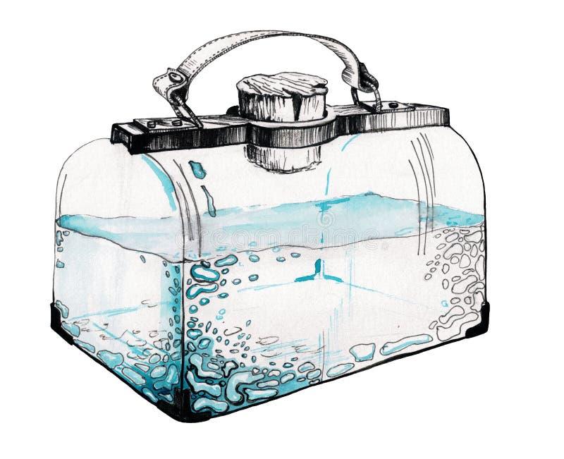 De blauwe waterverf en inkt het schilderen zak van de vergiftfles stock fotografie