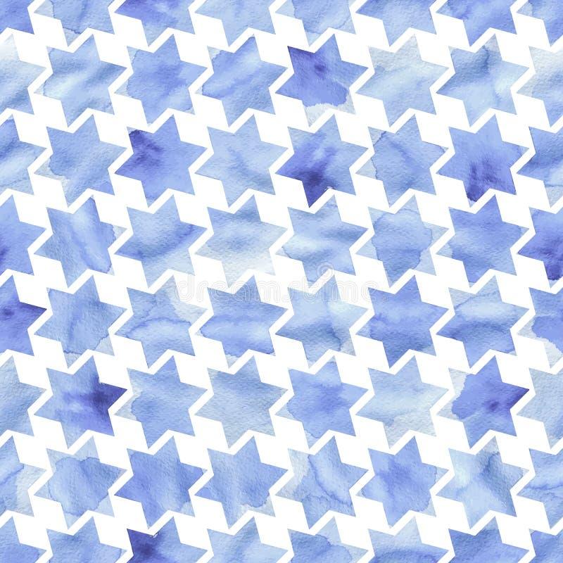 De blauwe waterverf speelt naadloos patroon mee Druk voor met de hand getrokken textiel vector illustratie