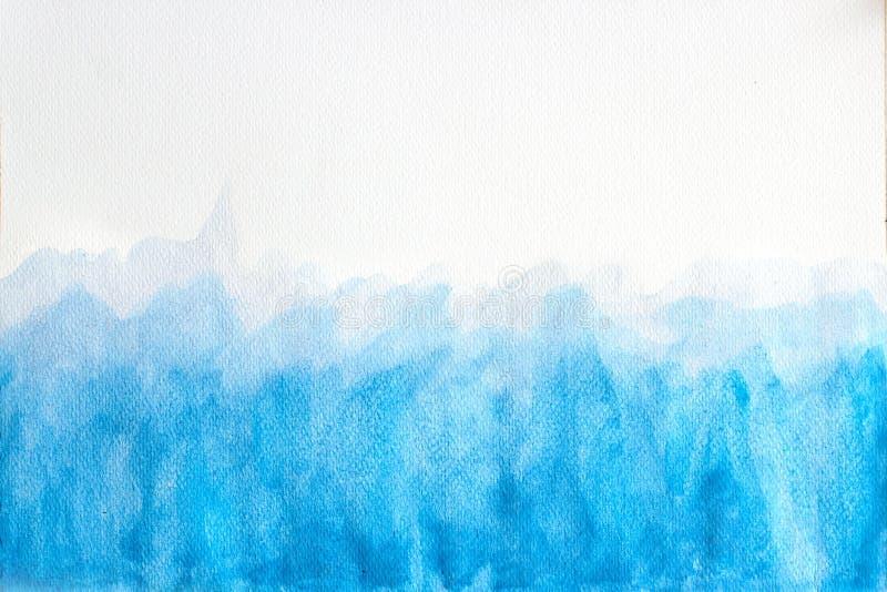 De blauwe waterverfachtergrond, de Abstracte hand getrokken illustratie van de waterverfborstel, grunge stileert om te ontwerpen  royalty-vrije illustratie