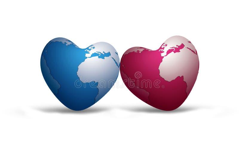 De blauwe wereld en de roze wereld zijn in liefde vector illustratie