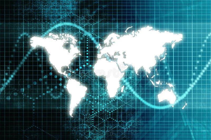 De blauwe Wereldeconomie van de Effectenbeurs royalty-vrije illustratie