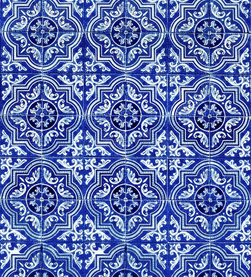 De blauwe Witte Achtergrond van het Tegelspatroon royalty-vrije stock afbeelding