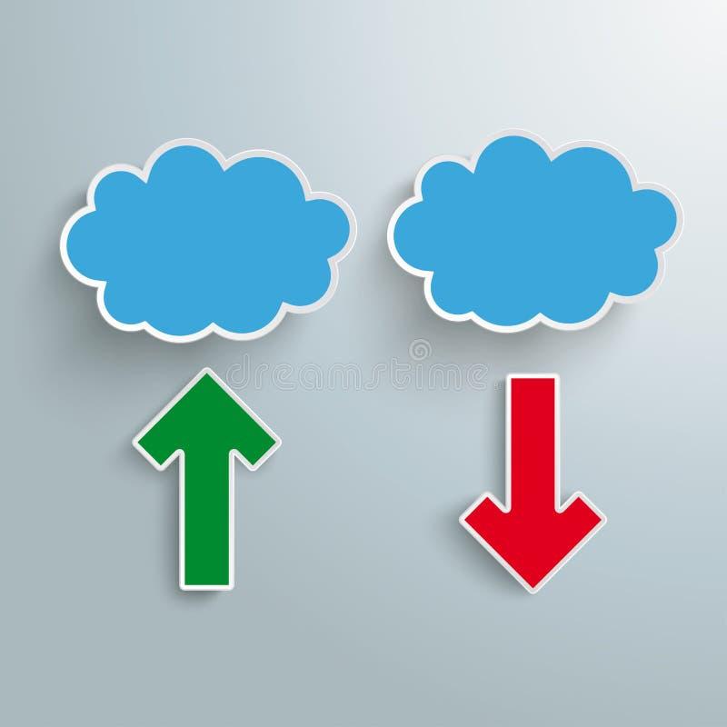 De blauwe Wolken 2 Pijlen uploaden Download stock illustratie