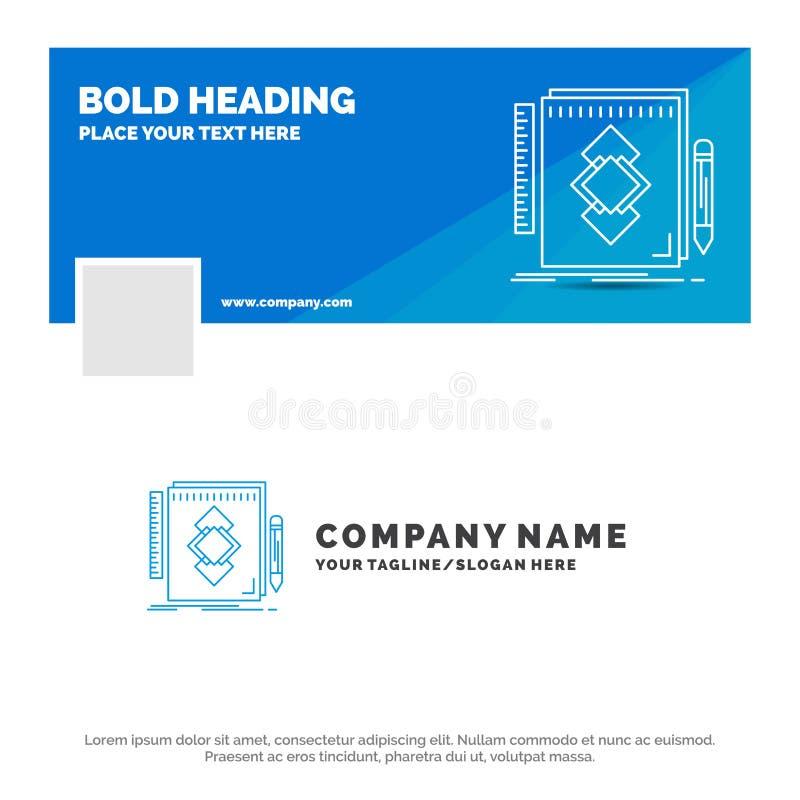 De blauwe Zaken Logo Template voor ontwerp, Hulpmiddel, identiteit, trekken, ontwikkeling Facebook-het Ontwerp van de Chronologie royalty-vrije illustratie