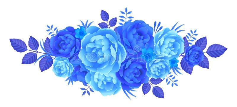 De blauwe zomer bloeit artistieke rozet, vectordieillustratie op wit wordt geïsoleerd stock illustratie