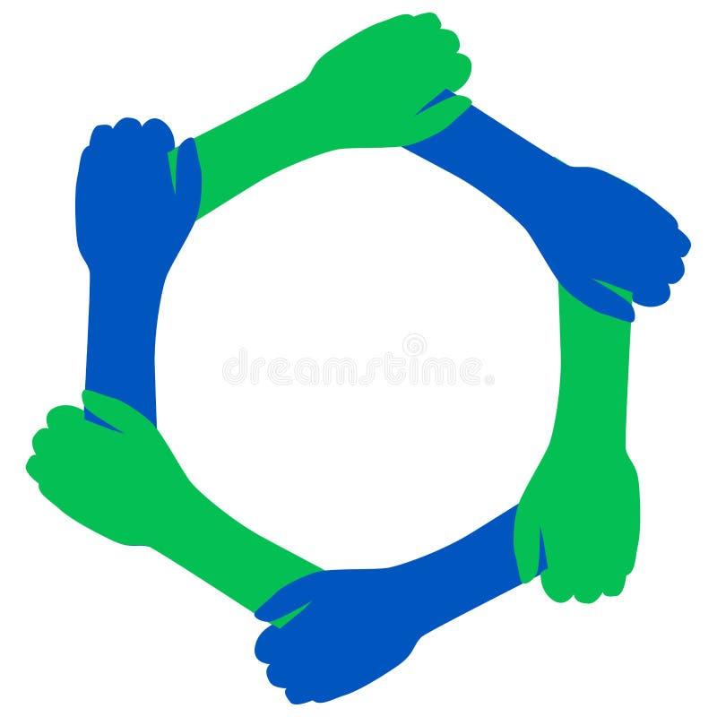 De blauwgroene handen van het handdrukteam vector illustratie