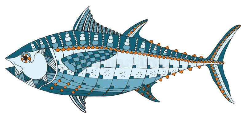 De blauwvintonijnvissen zentangle stileerden, vector, vrije illustratie, royalty-vrije illustratie