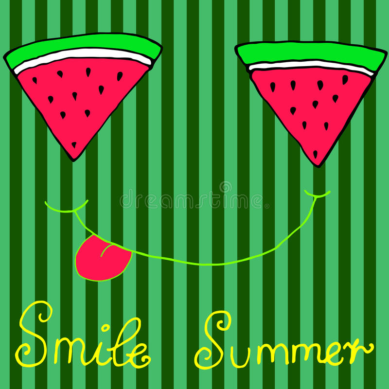 De blije gesneden watermeloenplakken, die tonend tong, isoleren glimlachen stock afbeeldingen