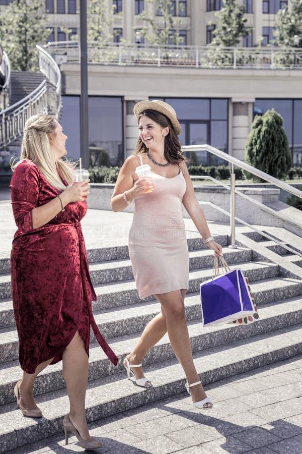 De blije jonge vrouwen die van Nice een gang hebben samen stock afbeelding