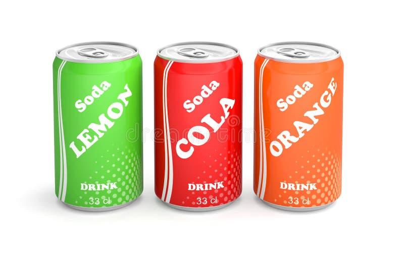 De blikken soda drinken zacht vector illustratie