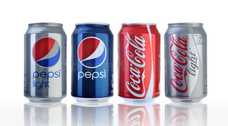 De blikken van de coca-cola en van Pepsi royalty-vrije stock afbeeldingen