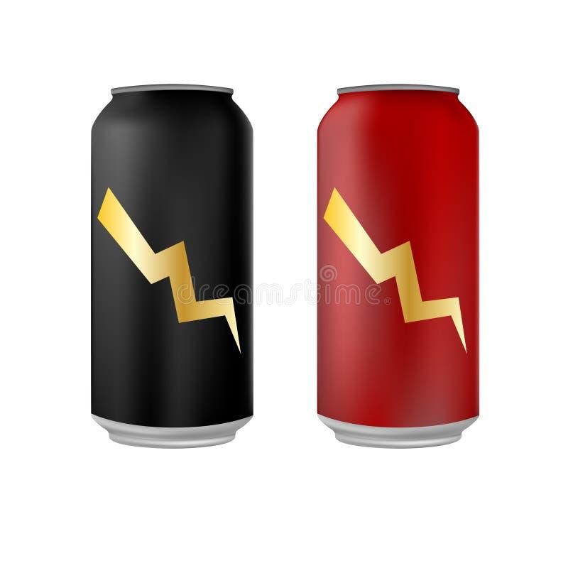 De blikken van de energiedrank stock illustratie