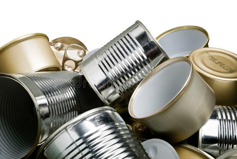 De blikken van het tin voor recycling stock afbeelding